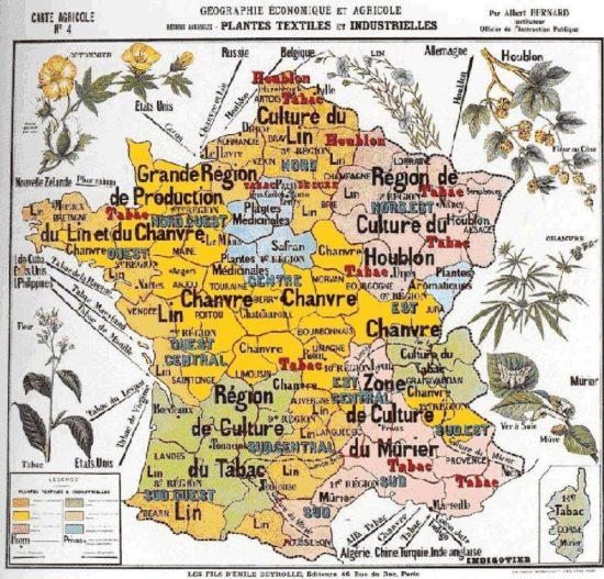 Carte des régions productrices de chanvre naturel (considéré comme du cannabis aujourd'hui) en France, vers 1900...